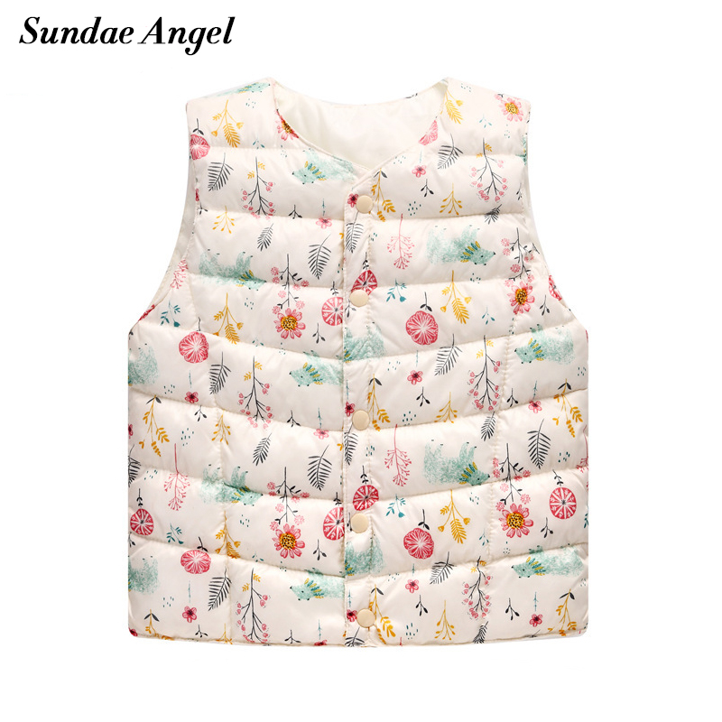Sundae Angel Winter kids vest Sleeve O-Neck For Baby Girls Boys Cartoon Print Flowers Outerwear Coats Children Waistcoat Clothes