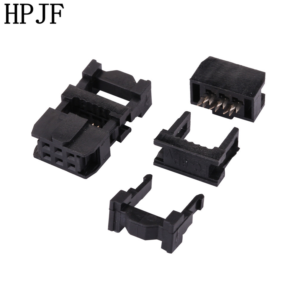 10PCS FC-6P 2x3Pin Dual Row Pitch 2.54mm IDC Socket Connector Female Header 6-pin cable socket