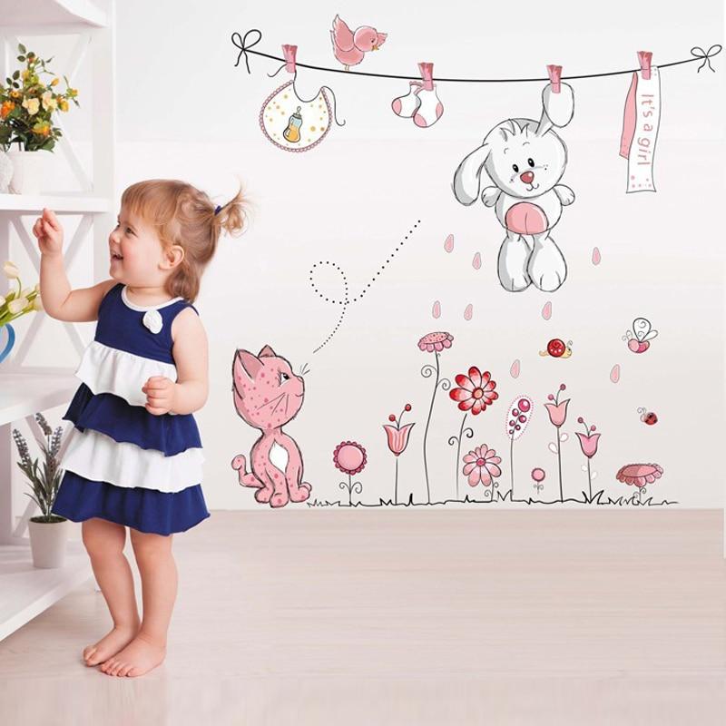 Pink Cartoon Cat Rabbit Flower Wall Sticker For Baby Girls Kids Rooms Home Decor Teddy Bear Umbrella Classroom Wall Decals