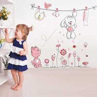 Etiqueta engomada de la pared de la flor del conejo del gato de la historieta rosa para las habitaciones de los niños de las muchachas del bebé decoración del hogar paraguas del oso de peluche