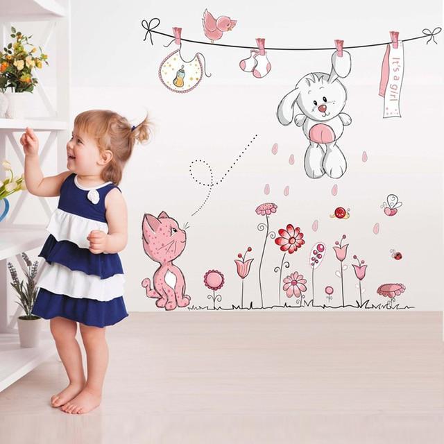 Розовый мультфильм Кот Кролик цветок стикер на стену для маленьких девочек детские комнаты домашний декор Тедди Зонт с медведем классная комната, для стен наклейки