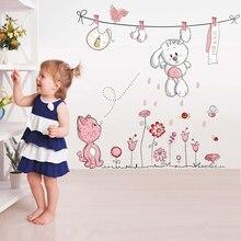 Pink Cartoon Cat Rabbit Flower Wall Sticker For Baby Girls Kids Rooms Home Decor Teddy Bear Umbrella Classroom Decals