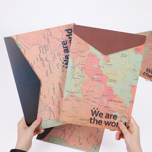 1 предмет Ретро Географические карты Бумага A4 Хранение документов папка для хранения канцелярских принадлежностей сумка Документ Сумки школьные канцелярские принадлежности