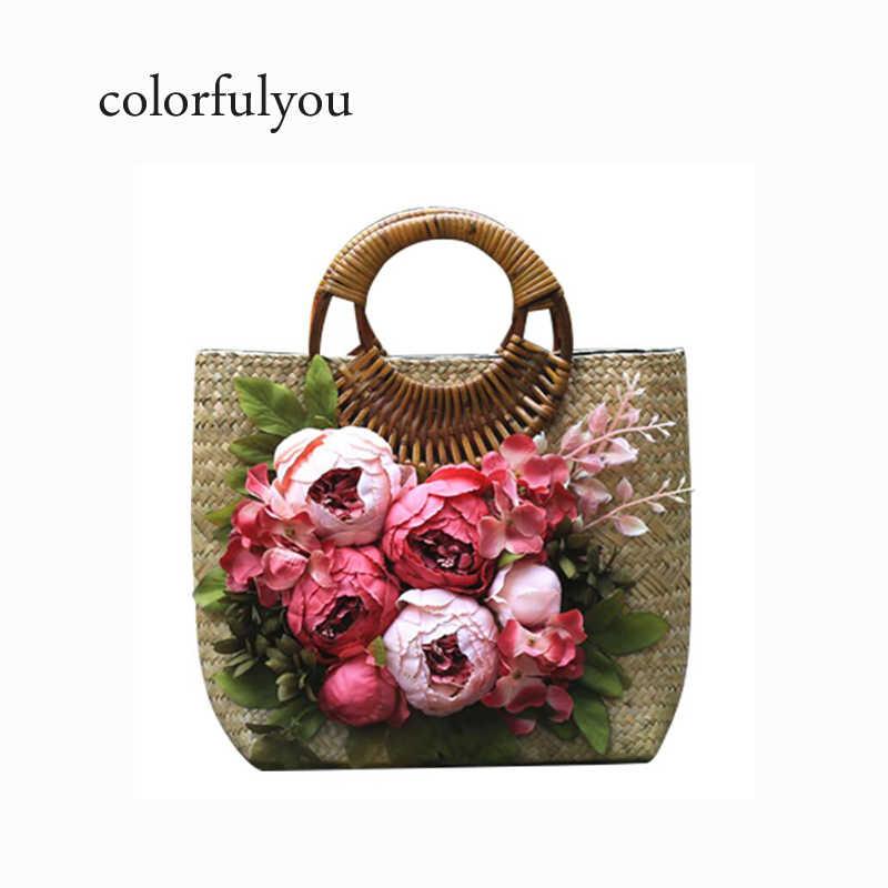a736285f16a7 Модные Винтажные женские цветы соломенная сумка Женская Ручная работа для  отдыха пляжный отдых посылка оригинальная большая