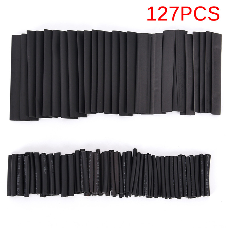 127Pcs/set New Car Cable Sleeving Wrap Wire Kit Useful Electric Tubings Multi Style Black 2:1 Assortment Heat Shrink Tubing Tube