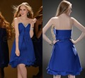 Luxury Sexy Strapless Beaded Backless Chiffon Short Cocktail Dresses Party Dresses for Prom