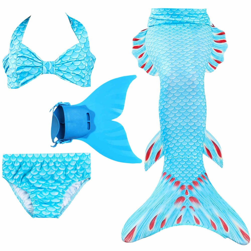 New Style 2019 Kids Children Mermaid Tails for Swimming Mermaid tail with Monofin Girls Costumes Swimsuit with Bikini