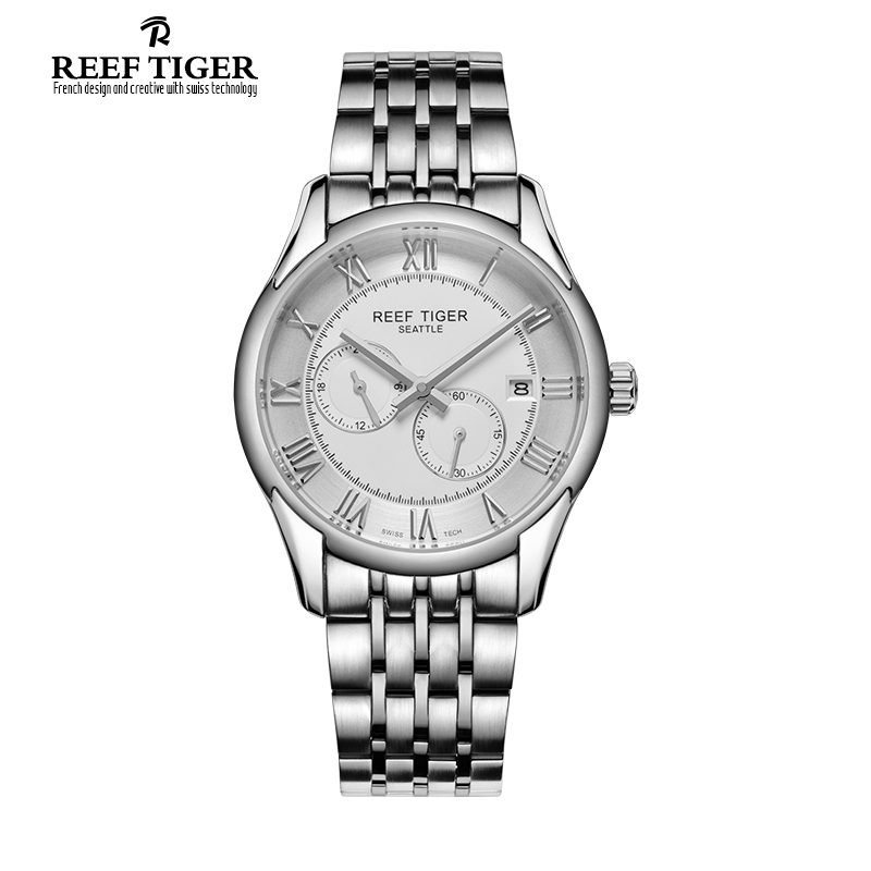 Reef Tiger/RT Watches New Design Business Watch with Date Men Automatic Watch with Four Hands Stainless Steel Watches RGA165 best selling reef tiger rt classic business watches for men rose gold steel automatic watch with date rga823