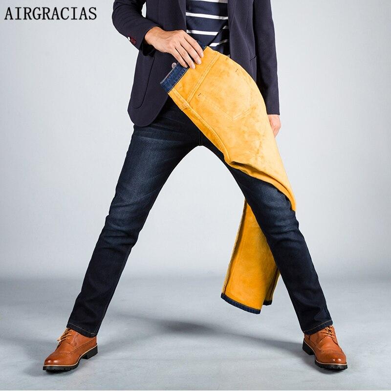 AIRGRACIAS Mens Winter Stretch Style Thicken Jeans Warm Fleece Soft Denim Biker Jean Long Pants Trousers Size 28-40 Brand Jean