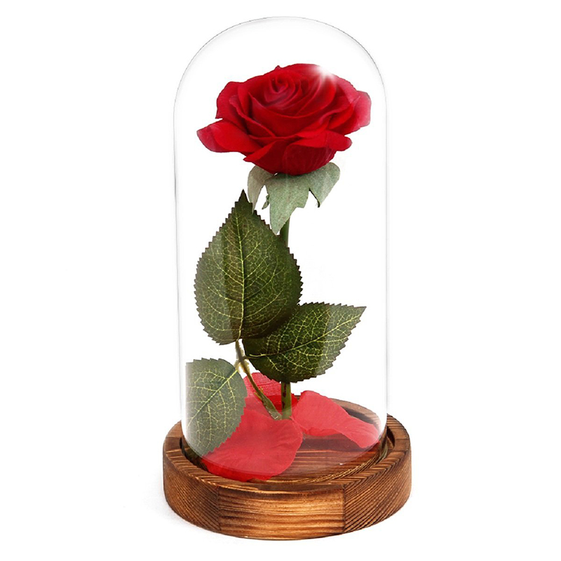 HOT-Eternal Rose Flower Red Silk Rose and LED Light with Fallen Petals in Glass Dome on a Wooden Base BEST Gift