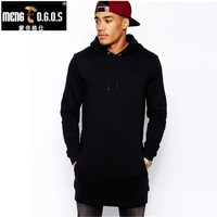 New Arrival Free Shipping Fashion Men S Long Black Hoodies Sweatshirts Feece With Side Zip Longline