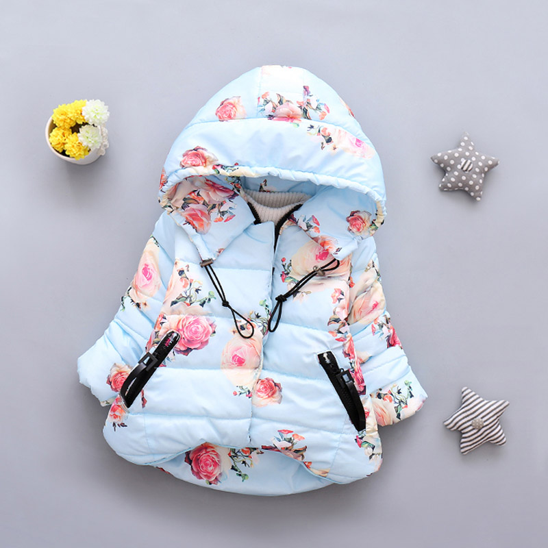 Winter Baby Girl Floral Print Jacket