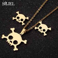 SMJEL-Conjunto de collares de acero inoxidable, Gargantilla gótica con Calavera, de Halloween Joyería, Alma, esqueleto