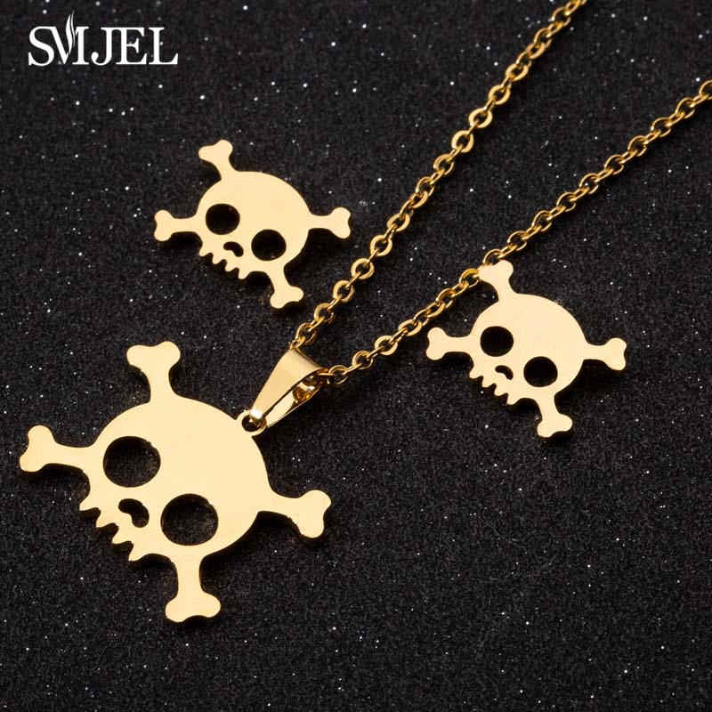 SMJEL ze stali nierdzewnej naszyjniki zestaw Regalrock Gothic czaszka Halloween biżuteria dusza szkielet wisiorek naszyjnik Choker Collier nowy