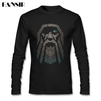 80S Vintage Fashion Odin Vikings T Shirt Men Movie Tees Shirt O-neck Long Sleeve Cotton T-shirt