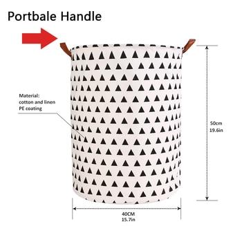 1pc Folding Laundry Basket Round Storage Bin Bag Large Hamper 5
