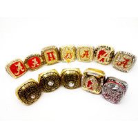 Factory Price 12pcs Lot Alabama Crimson Tide World Series Championship Ring Set With High Quality Wooden