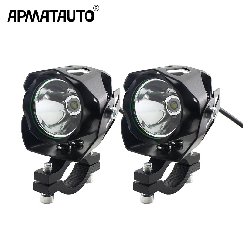 2x Mini Size Electric Motorcycle Antinieble LED Headlight 6W 6000K Motorbike Spotlight Driving Fog Lamp Spot Head Light 12V-85V