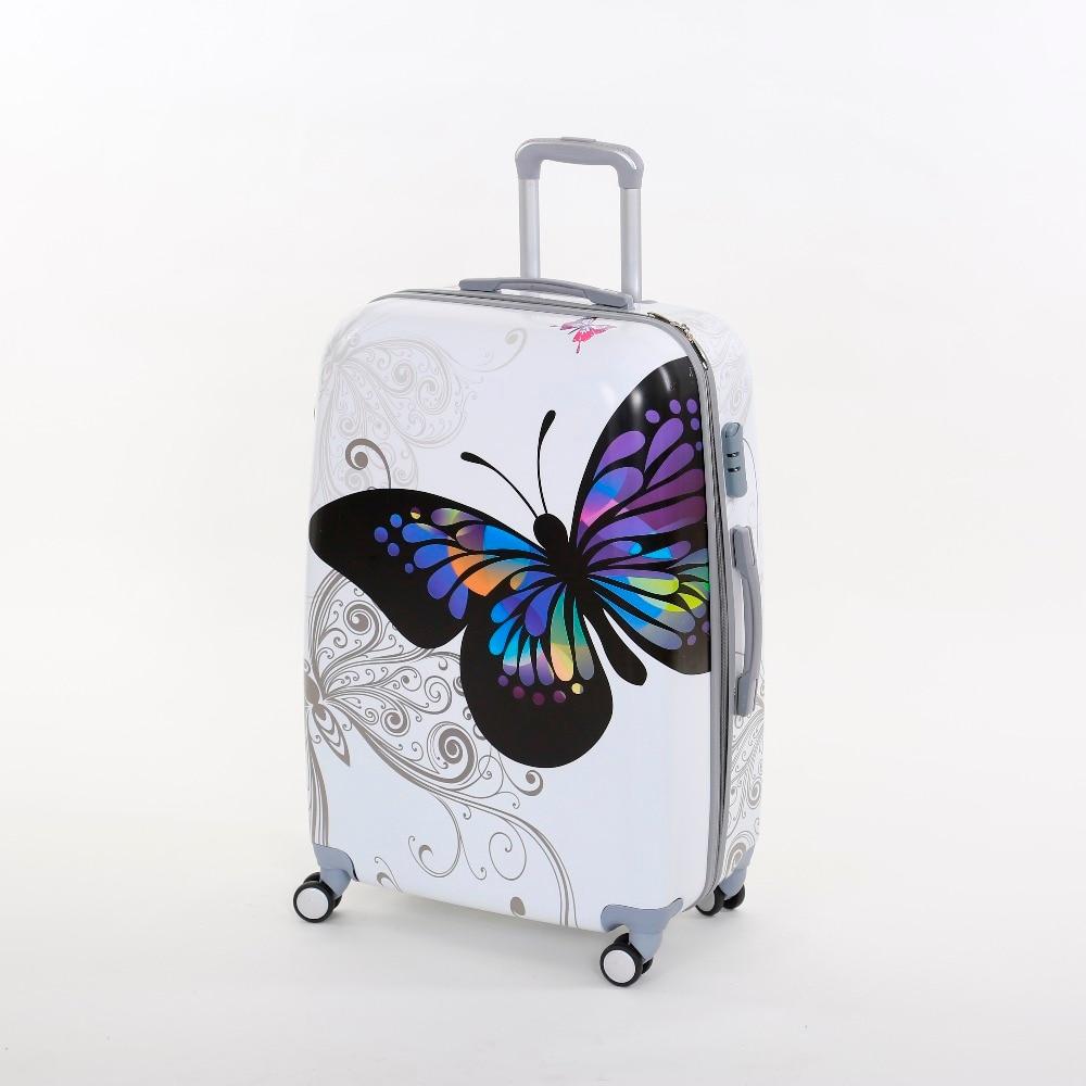 Wholesale Female korea fashion pc butterfly trolley font b luggage b font font b sets b