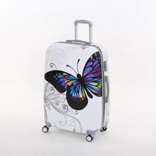 Wholesale Female korea fashion pc butterfly trolley luggage sets 28inches butterfly travel luggages for women 14