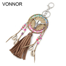 VONNOR Jewelry Boho Keychain Thread Tassel Shells Alloy Cow Head Charm Key Chains Bohemian Accessories for Women