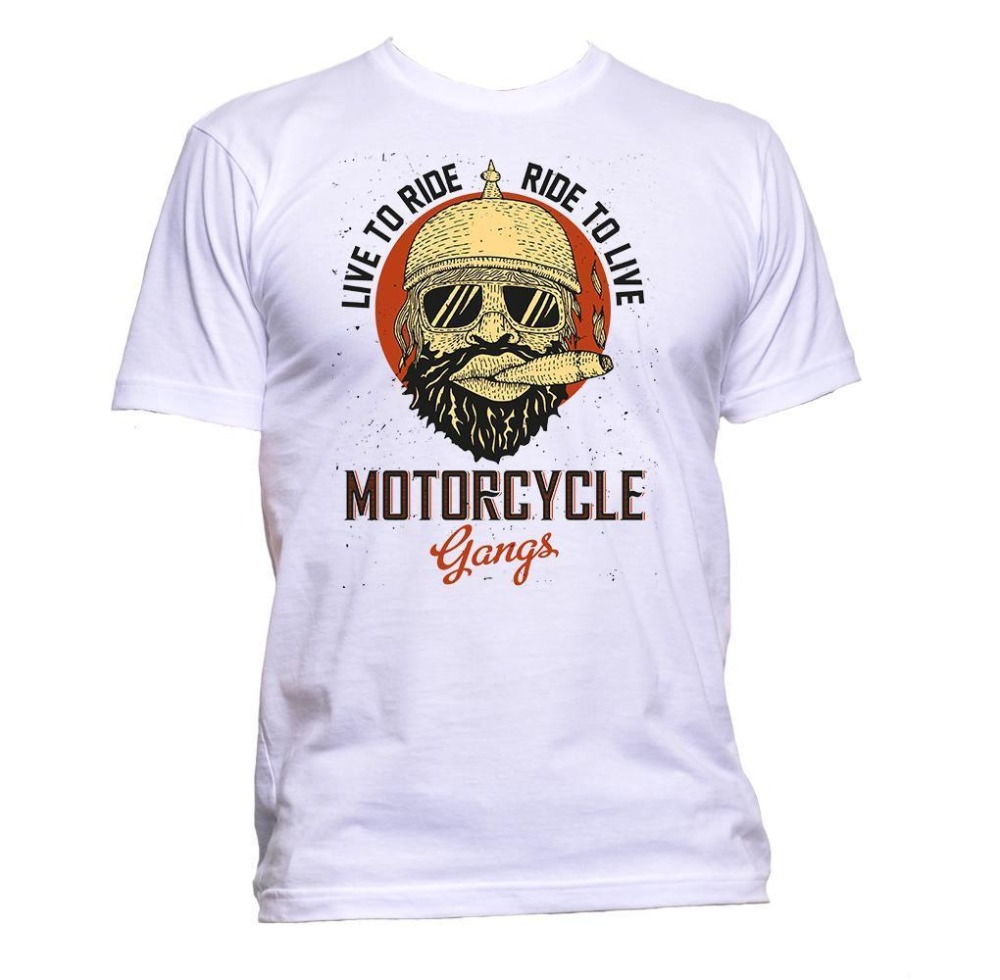 2018 Summer Hot Sale Tee Shirt Motorcycle Gangs Live To Ride T-Shirt Mens Womens Unisex Fashion Slogan Comedy Cotton T-shirt