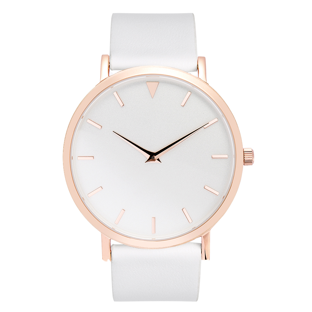 Polished Rose Gold Steel Watches Women White Leather Strap with Rose Gold Buckle