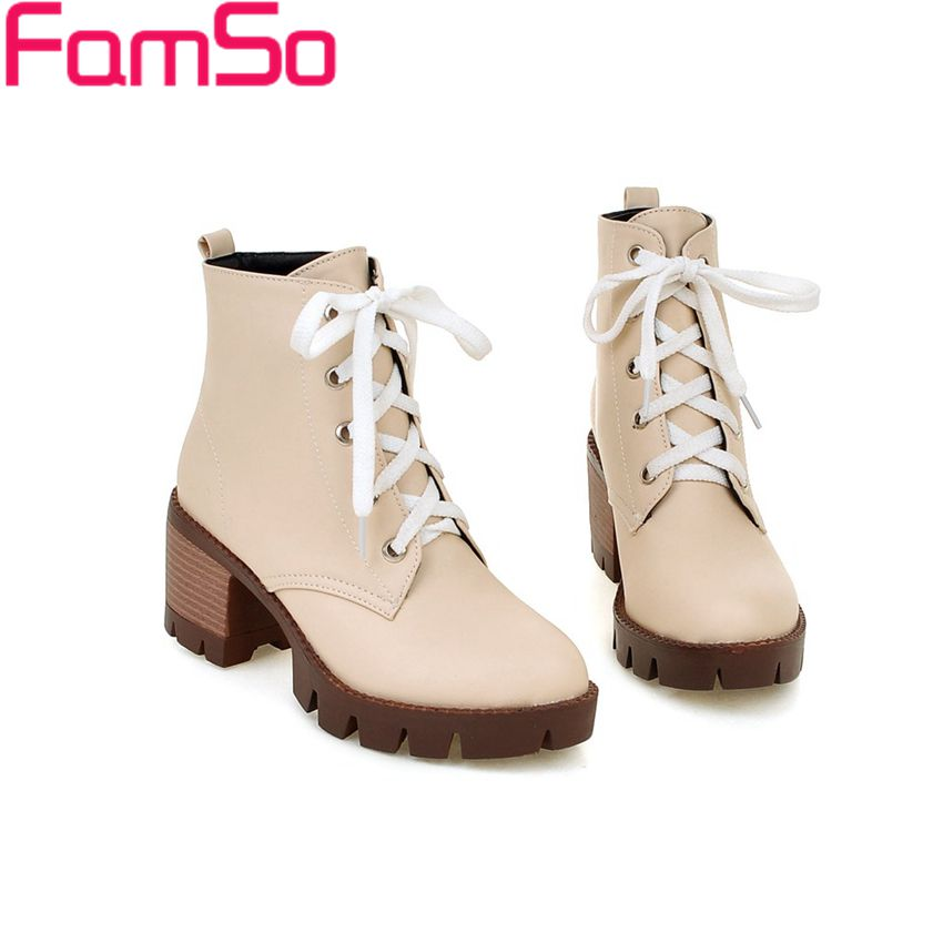 Plus Size 34 43 2016 New Arrival Ladies Spring Autumn Martin Boots High Heels Female Riding