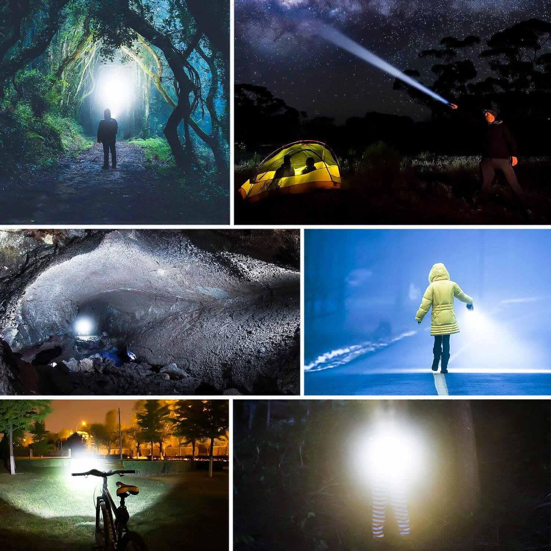 Güçlü LED el feneri 12000LM T6/L2/V6 fener meşale Zoom ışığı 5 modları lanterna su geçirmez bisiklet ışığı 18650 pil ile