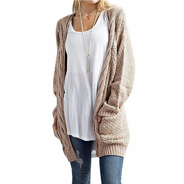 nueva llegada d2b26 14b3f US $11.96 30% OFF|LOGAMI Long Cardigan Women Long Sleeve Knitted Sweater  Cardigans Autumn Winter Womens Sweaters 2017 Jersey Mujer Invierno-in ...