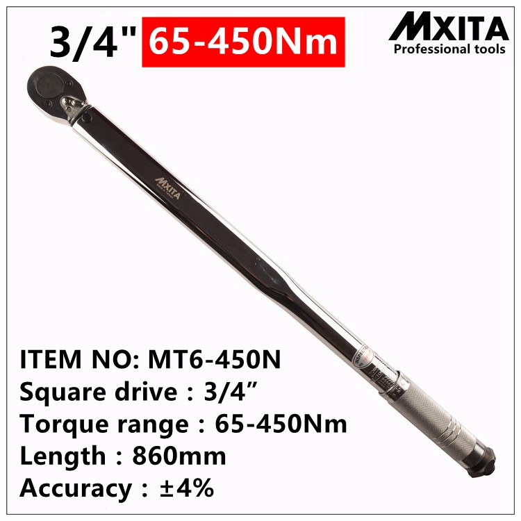 MXITA 3/4'' Drive 65-450NM Torque Wrench Tools Case Foot Pound Drive Click Adjustable Hand Spanner Ratchet Wrench Tool mxita 1 2 5 60n adjustable torque wrench hand spanner car wrench tool hand tool set