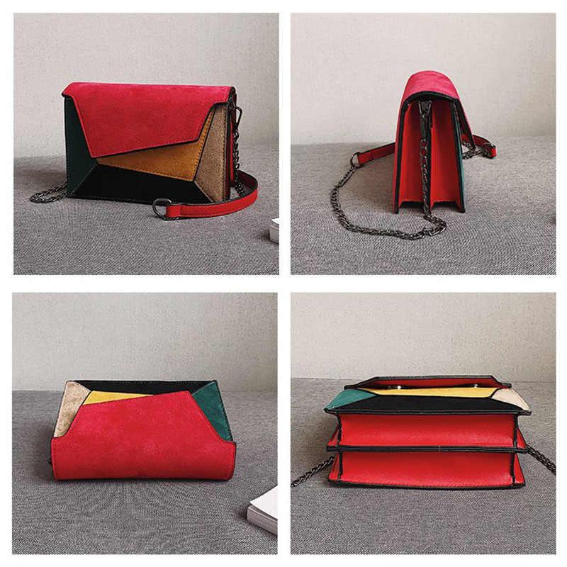 a4c6b2707ac Women Bags Vintage Scrub Leather Patchwork Messenger Bag Flap Clutch Bags  Designer Mini Female Chain Shoulder Bag Women Handbag