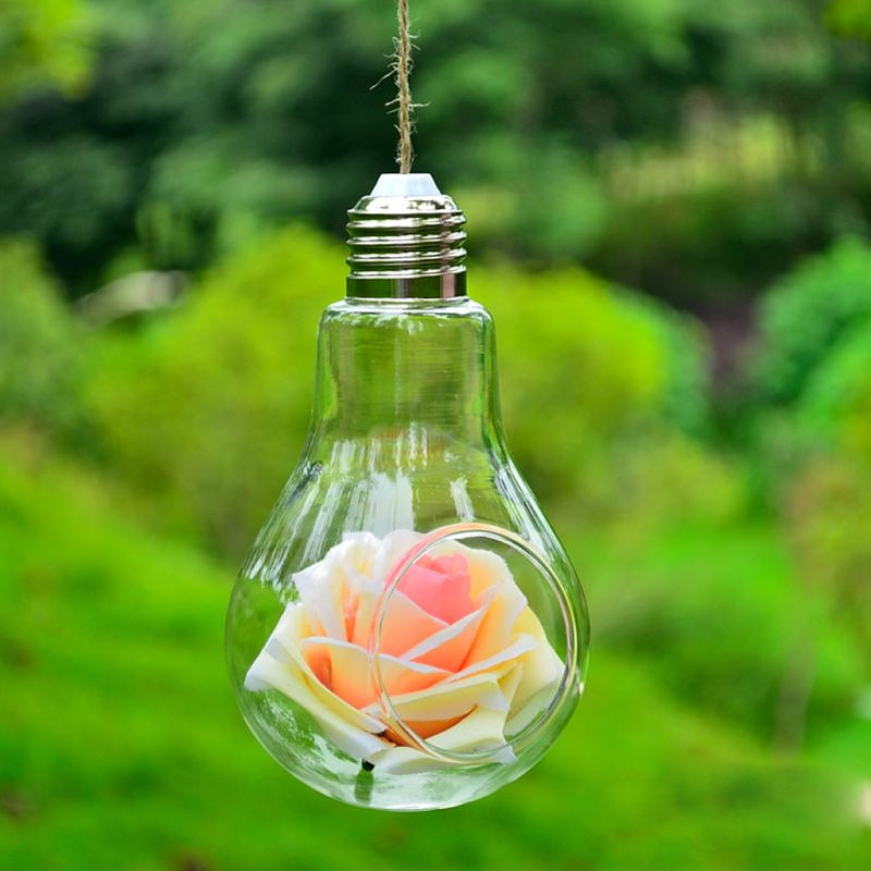 Glass Vase Bulb Lamp Shape Hanging Vase Flower Water Plant Container Wedding Home Indoor Office Decor Fast Shipping C