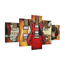 Modern Canvas Painting HD Printed Wall Art Frame Modular Pictures Living Room Decor 5 Pieces Abstract Guitar Music Poster (2)