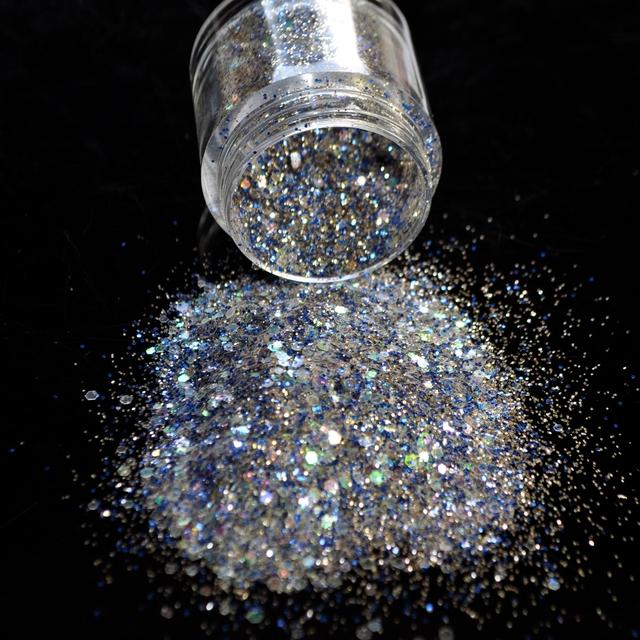 Dazzling White and Blue Nail Glitter