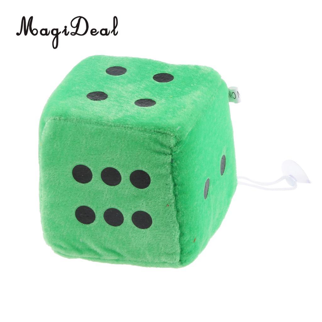 4 дюйма Мягкие плюшевые игрушки для игры в кости куб окна автомобиля зеркало вешалка липкая Декор День рождения подарки Сувенирные игрушки подарок 10x10x10 - Цвет: Green