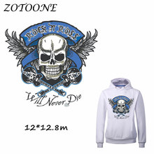 ZOTOONE Patches Iron on Transfers DIY Accessory Skull Motorcycle Patch for Clothing Print on T-shirt Jeans Bag Applique Clothes