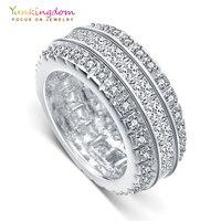 Yunkingdom geometric gorgeous womens rings white crystal cz big rings for women luxury fashion jewelry