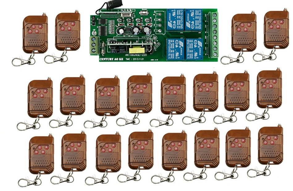 ФОТО Fr Shipping 85v~260V 21pcs/lot 4CH RF Wireless Remote Control Relay Switch Security System Garage Doors Gate Electric Doors