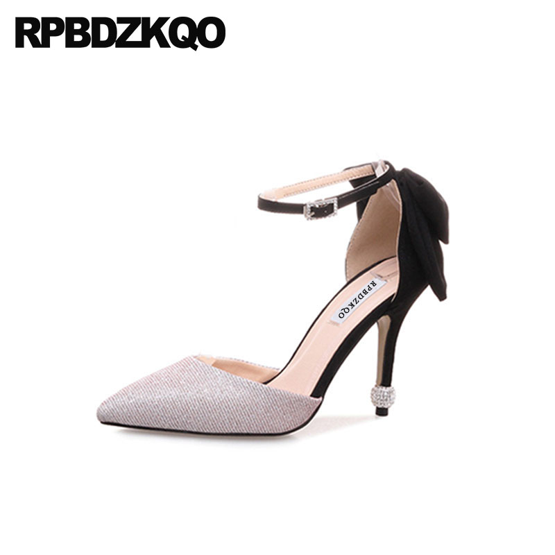 Celebrity Size 4 34 Ankle Strap Suede Multi Colored Prom 3 Inch Shoes Stiletto Pointed Toe Silver Glitter Pumps High Heels Women