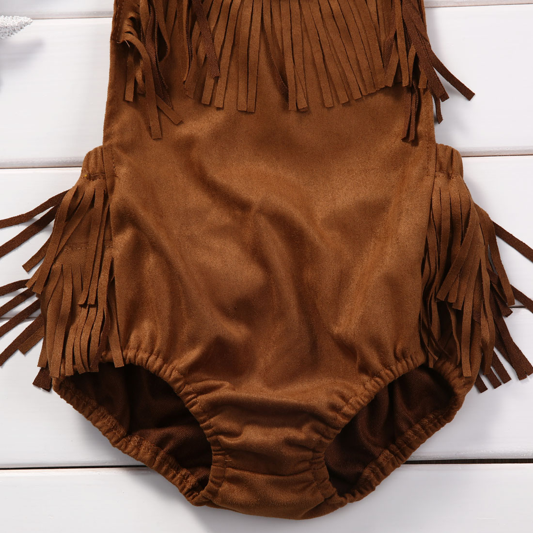 Helen115 Pretty Baby Girls With Tassels Brown Sleeveless Leak Back Cotton Belt Bodysuit 0-24M