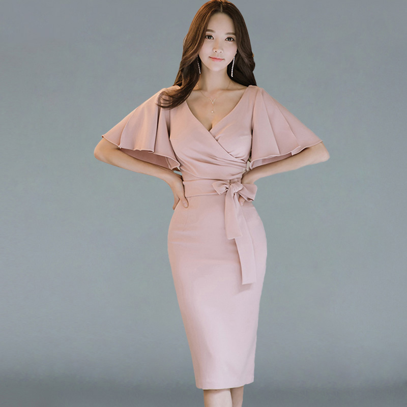 Summer Women Bow Sexy Pink Bodycon Pencil Sheath Retro Elegant Party Special Occasion Dress