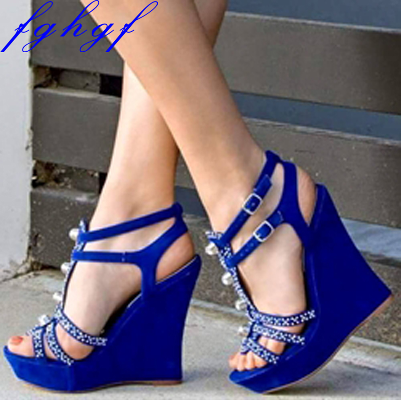 Fghgf 2018 New Women s wedge sandals blue wedge sandals with sparkly diamonds and sexy stylish