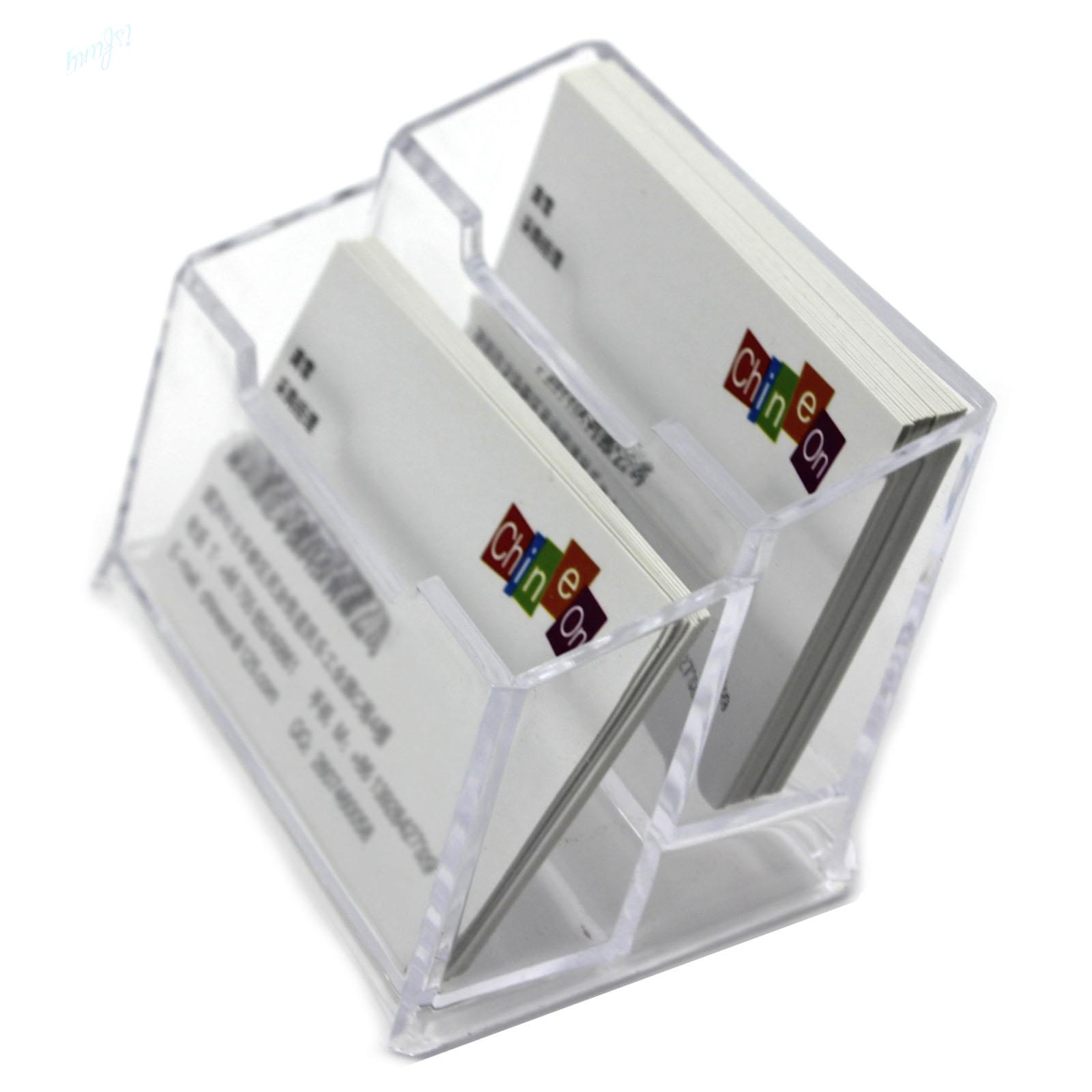 Double Layers Clear Plastic Durable Business Name Cards Holder for ...