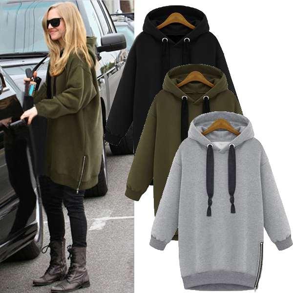 Winter Womens hoodies Fashion Long Sleeve Fleece Sweatshirt Ladies Warm Zip Soli