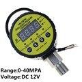 0-40 МПа защита цепи цифровой электрический контактный манометр цифровой манометр радиальная утечка короткий DC 12 В