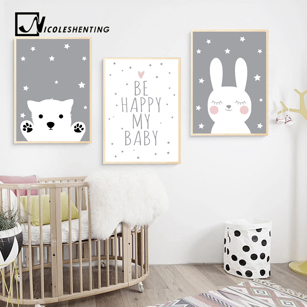 HTB1NgN1KuSSBuNjy0Flq6zBpVXaa Baby Nursery Wall Art Canvas Poster Print Cartoon Rabbit Bear Painting Nordic Kids Decoration Picture Children Bedroom Decor