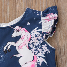 Girls' Unicorn Navy Blue Party Dress
