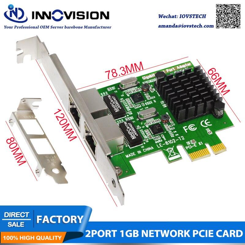 High Speed Dual Port PCI E X1 Interface Gigabit LAN Server NIC Convergence Soft Routing 1000Mbps Ethernet
