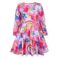 все цены на 2019 Baby Girls Dress Unicorn Costume for Kids Children Party Dresses flamingo Clothes kids Princess Dress онлайн